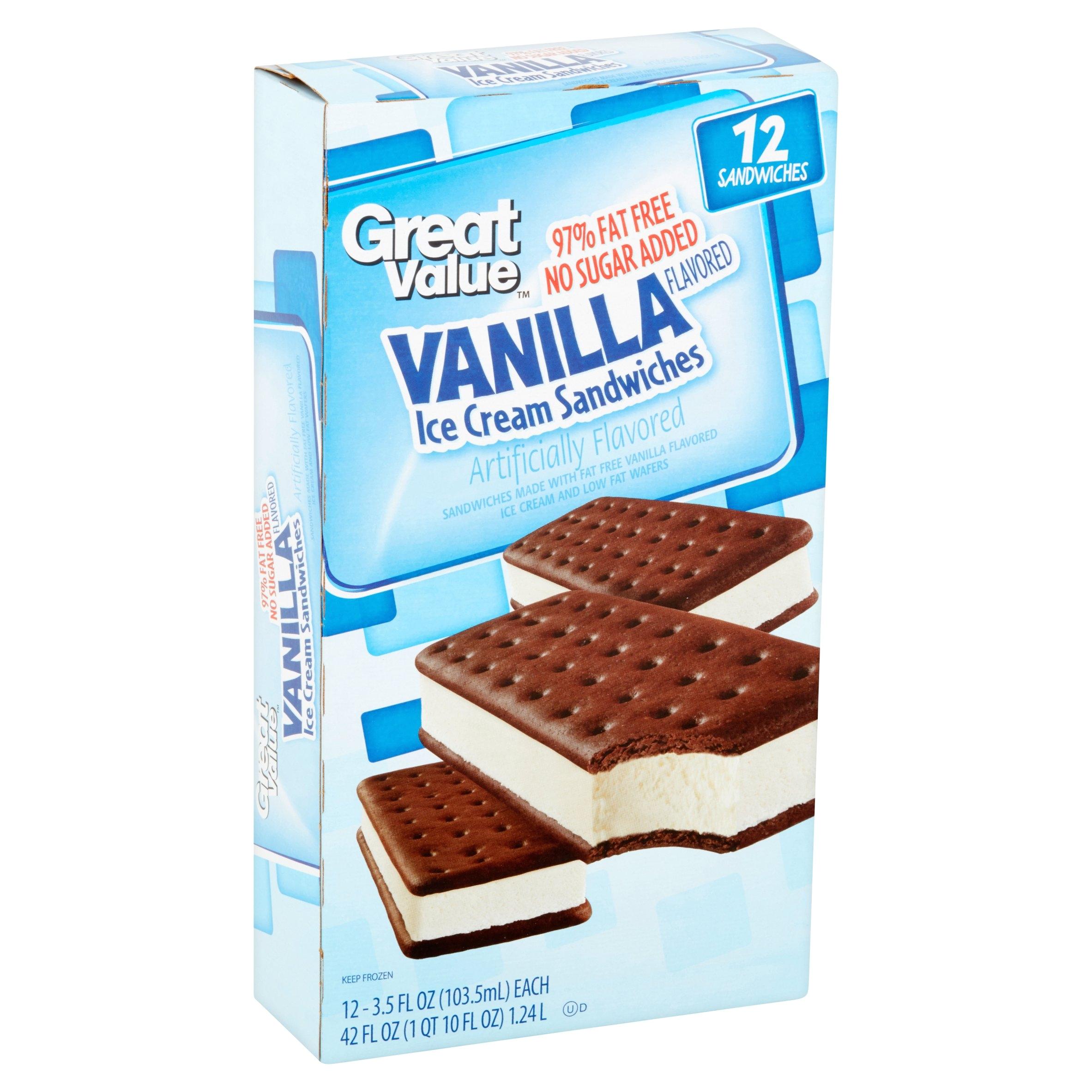 great value vanilla flavored ice cream sandwiches low fat 42 oz 12 count walmart com