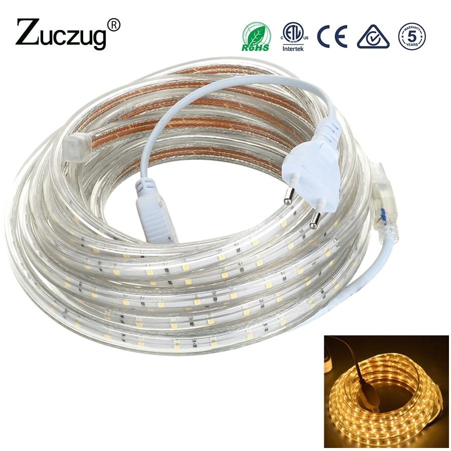 220 v led strip light smd 5050 220v 60leds m waterproof ip67 220 volt led ribbon diode tape strip lamp lights with eu power plug in led strips from lights