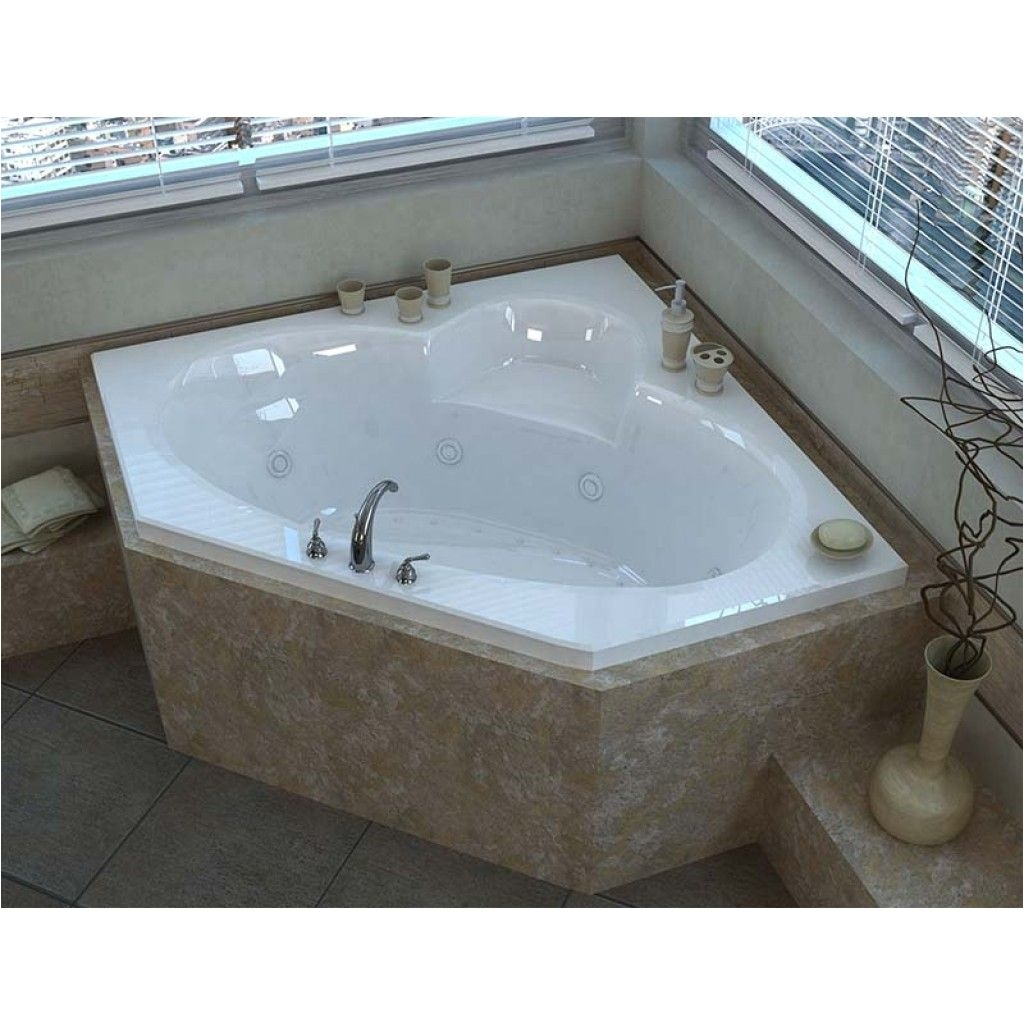 venzi ambra 60 x 60 corner air whirlpool jetted bathtub with center drain by atlantis cornerwhirlpooljettedbathtub