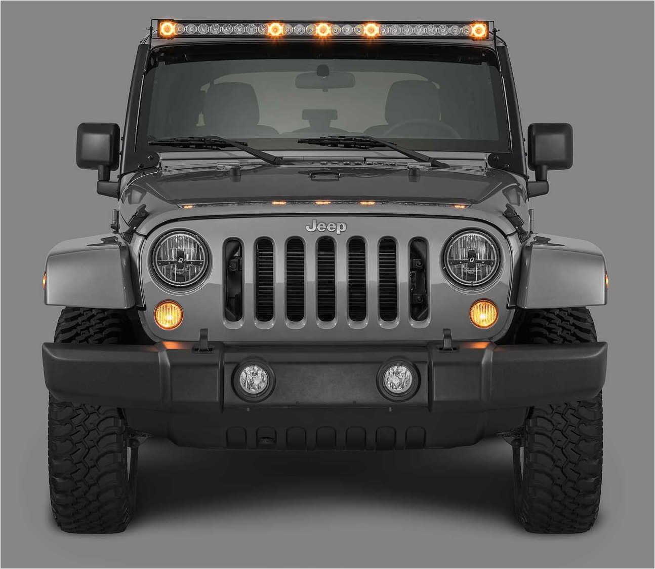 quadrateca j5 led light bar with amber clearance cab lights for 07 17 jeep wrangler jk quadratec