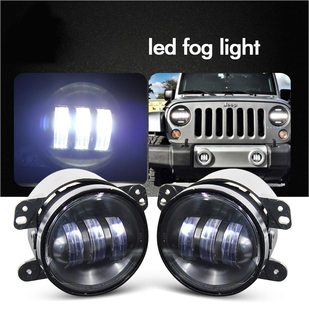 12v 4 inch 30w led fog lamp assembly off road car light for jeep wrangler dodge journey cruiser chrysler 300 cheap driving lights 4wd cheap fog lights from