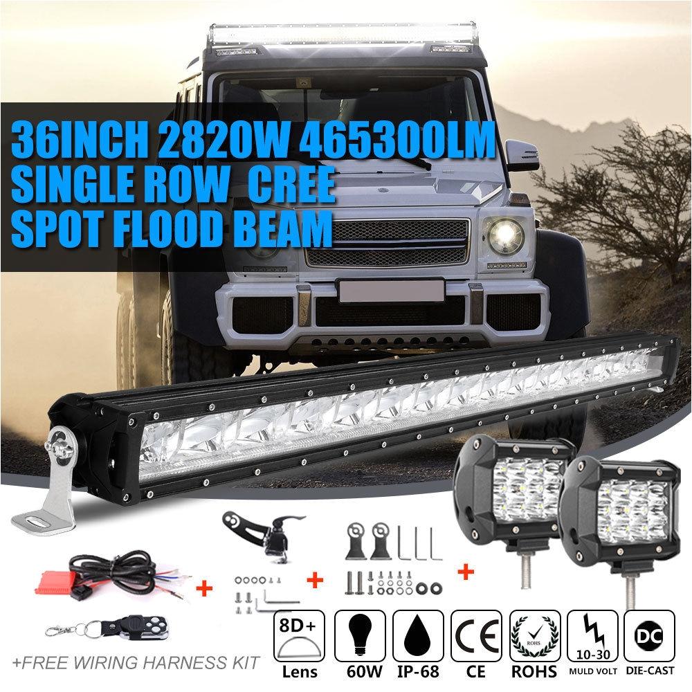 slim 36inch 2820w4inch 72w led light bar spot flood offroad 4wd jeep truck 35