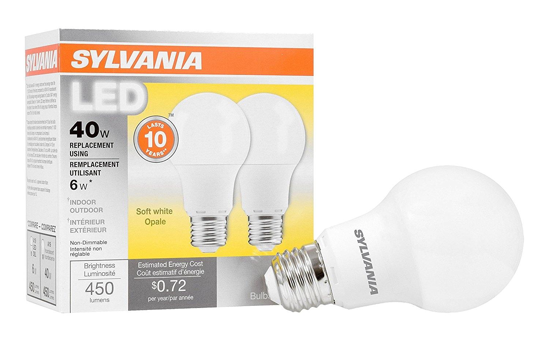 amazon com sylvania 40w equivalent led light bulb a19 lamp 2 pack soft white energy saving longer life value line medium base efficient 6w