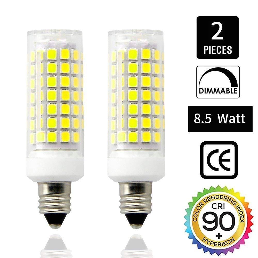 e11 led bulbs dimmable mini candelabra base 110v 120v 130 voltage input cri85 8 5 watt 75w halogen bulbs replacement jd e11 base daylight 6000k t3 t4