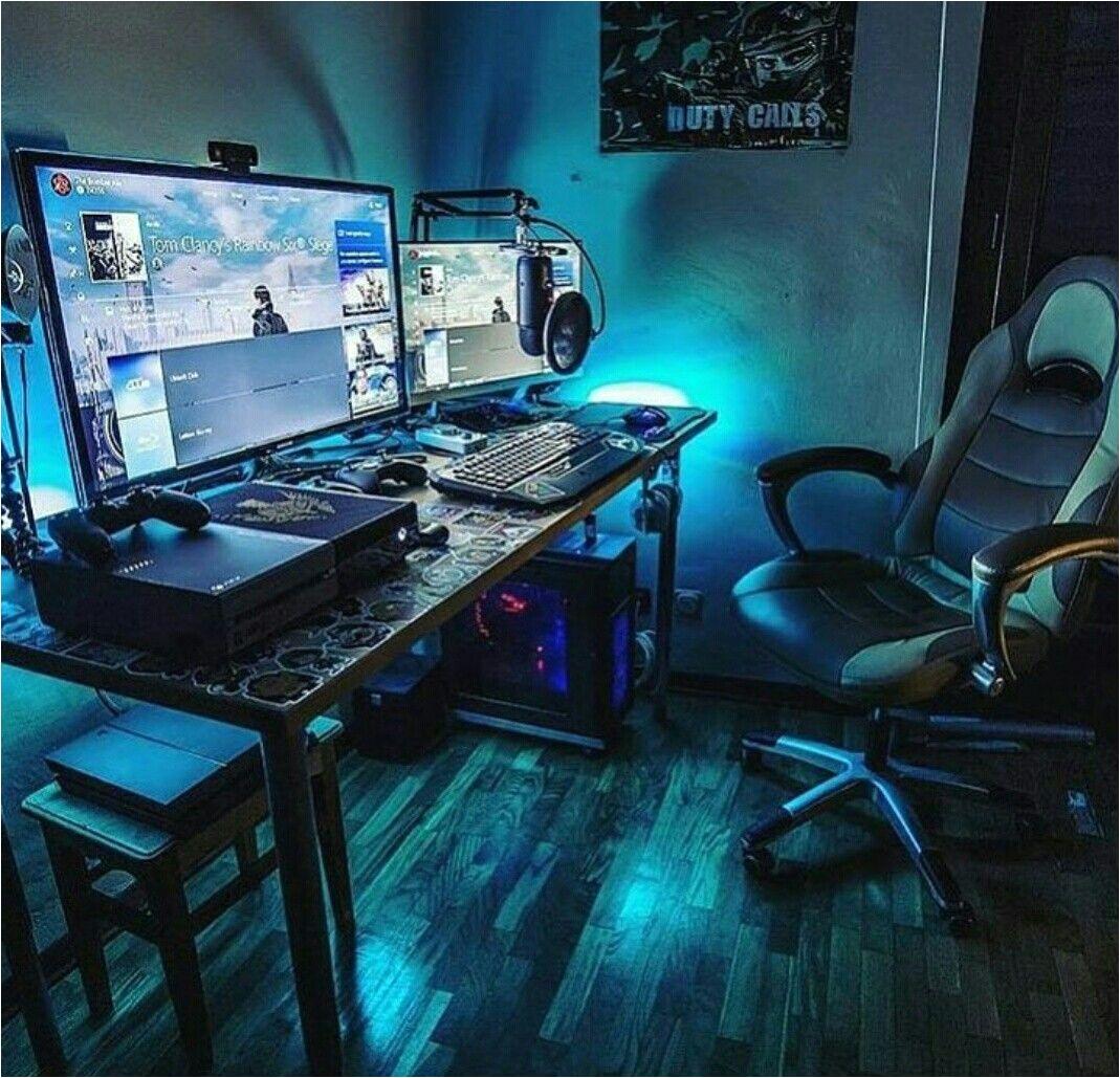 Led Lights for Gaming Setup Gaming Desks Gaming Pinterest Gaming Setup Computer Setup and