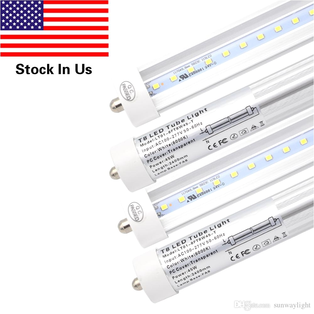t8 8ft 45w led tube light single pin fa8 base6000k cold white8 foot fluorescent bulbs 90w replacement clear cover dual ended power led lights to