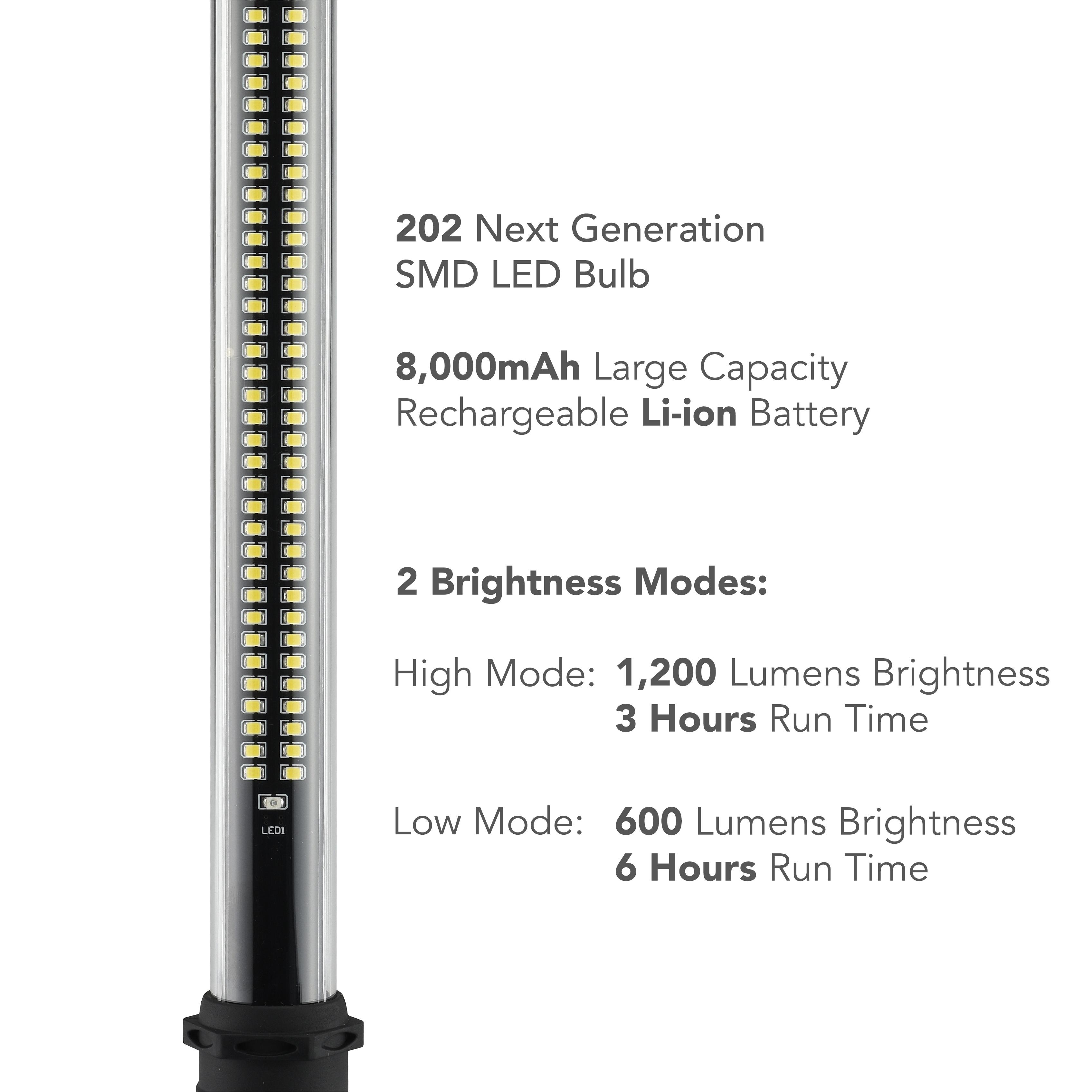 neiko 40447a rechargeable underhood work light 202 smd led bulbs 1200 lumens max brightness 8000 mah li ion battery 2 brightness modes