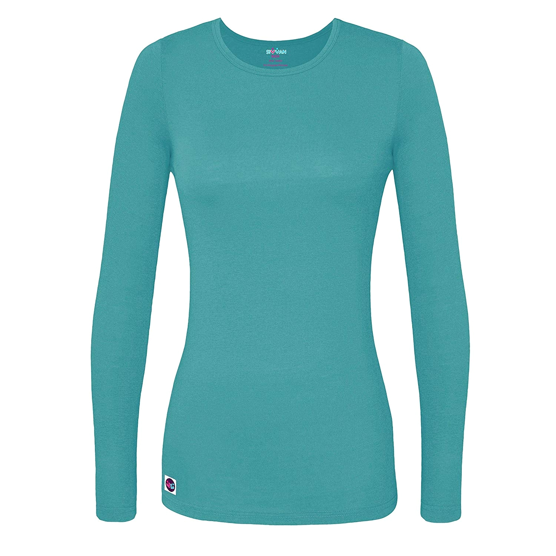 Light Blue Long Sleeve Shirt Womens Amazon Com Sivvan Womens Comfort Long Sleeve T Shirt Underscrub