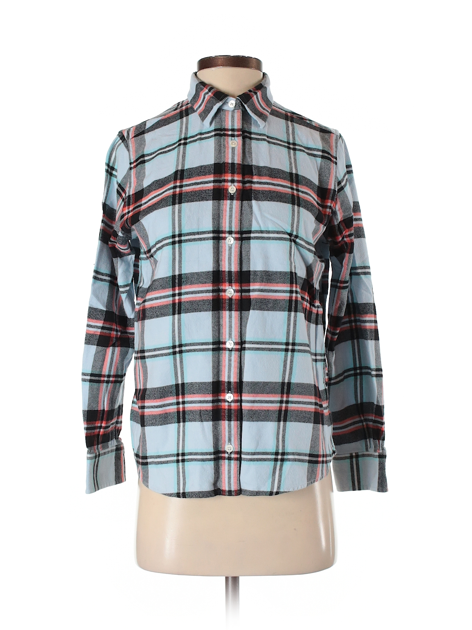 lands end long sleeve button down shirt size 4 00 light blue womens tops 10 99