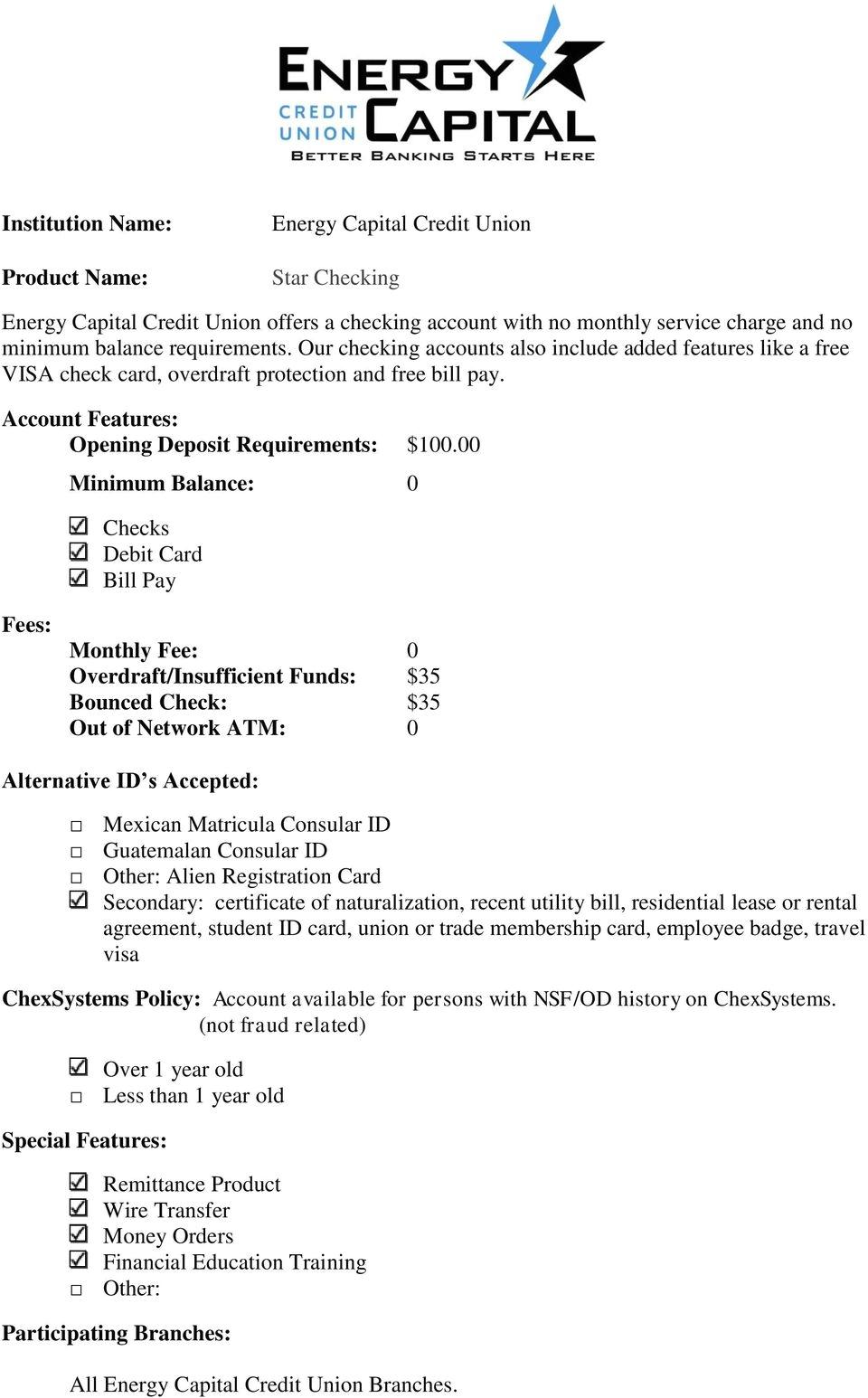 00 minimum balance 0 checks debit card bill pay monthly fee 0 overdraft