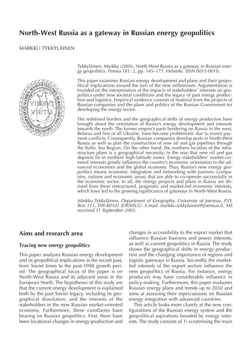 pdf north west russia as a gateway in russian energy geopolitics
