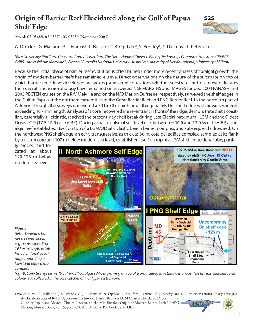 pdf origin of barrier reef elucidated along the gulf of papua shelf edge