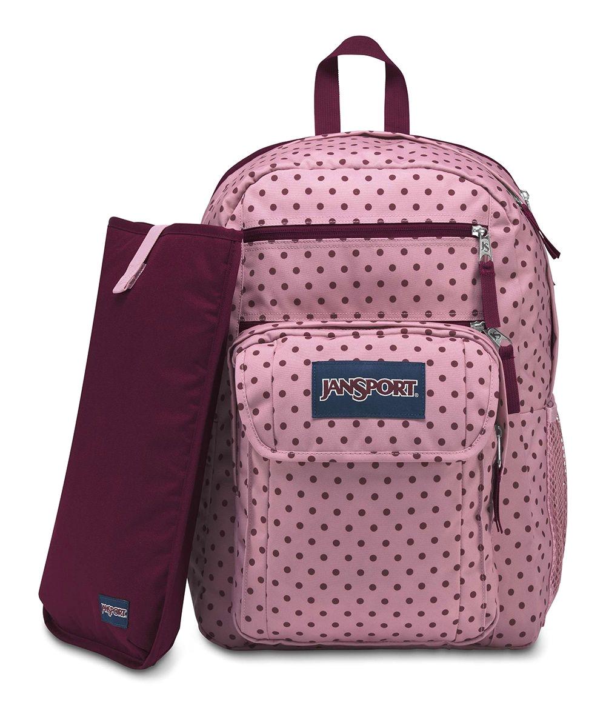 jansport grey denim polka dot backpack