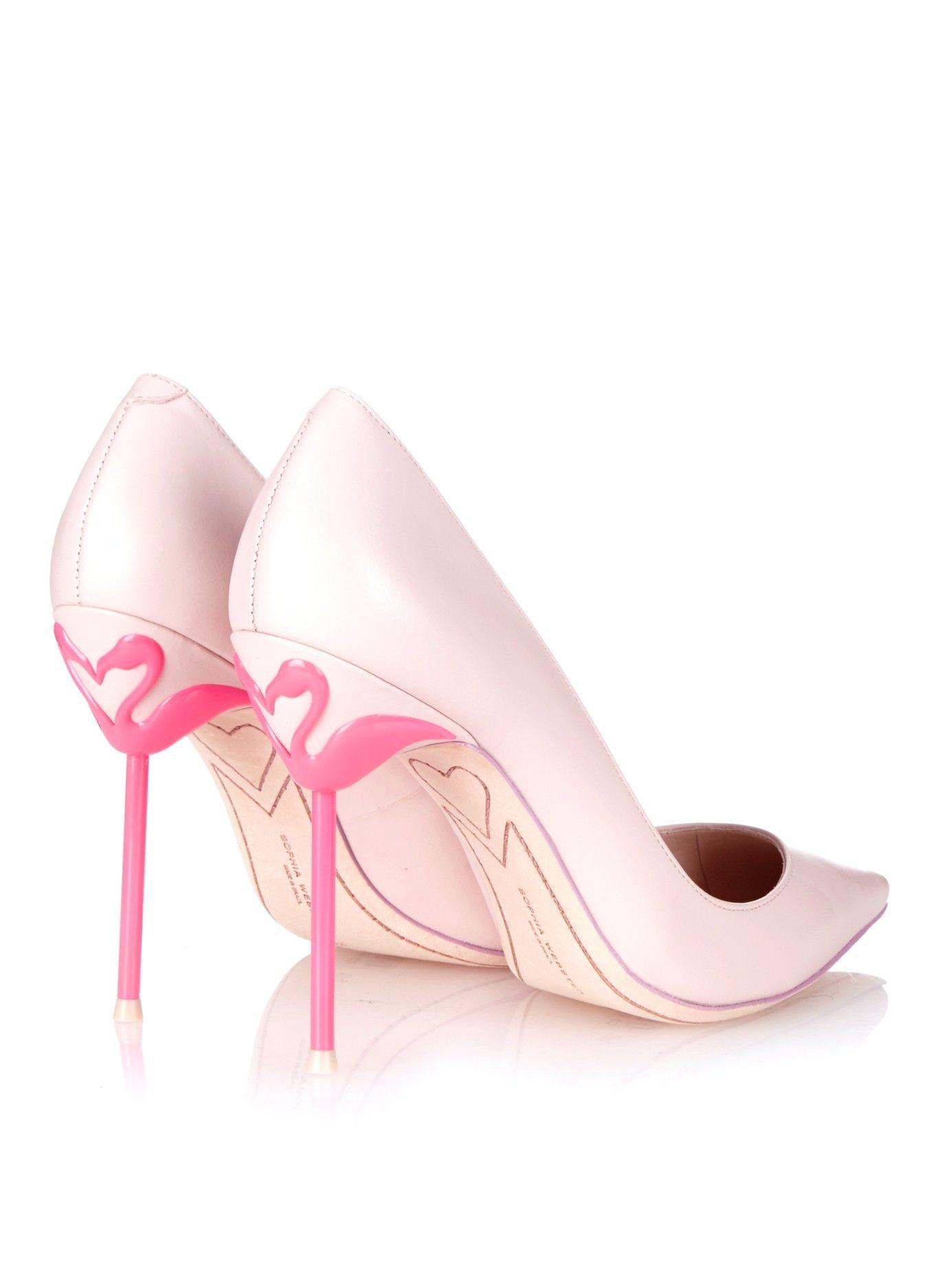 Light Pink Suede Pumps Flamingo Pumps sophia Webster Coco Flamingo Heel Leather Pumps