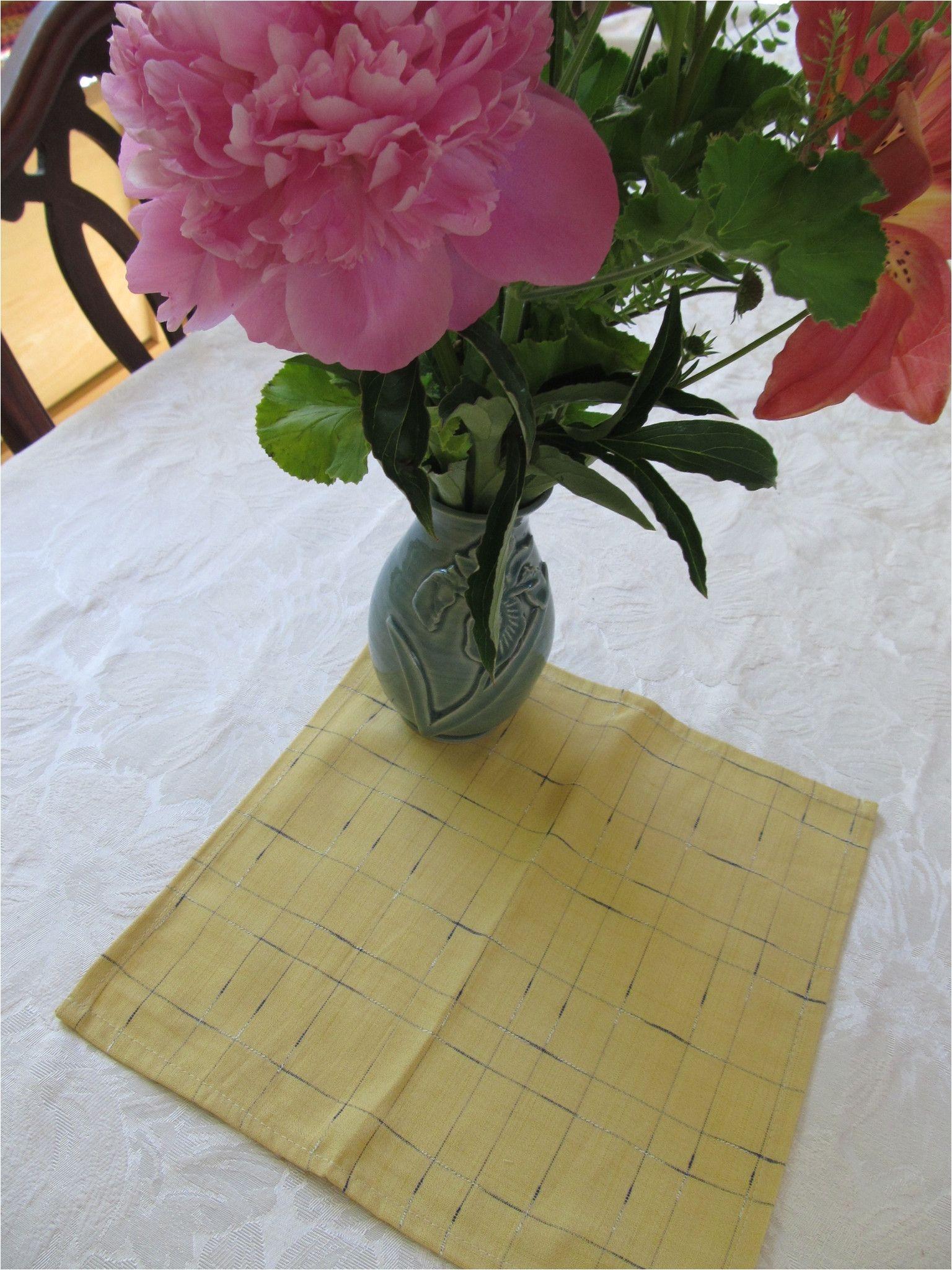 napkin set 31 light yellow checked napkins large vintage fabric