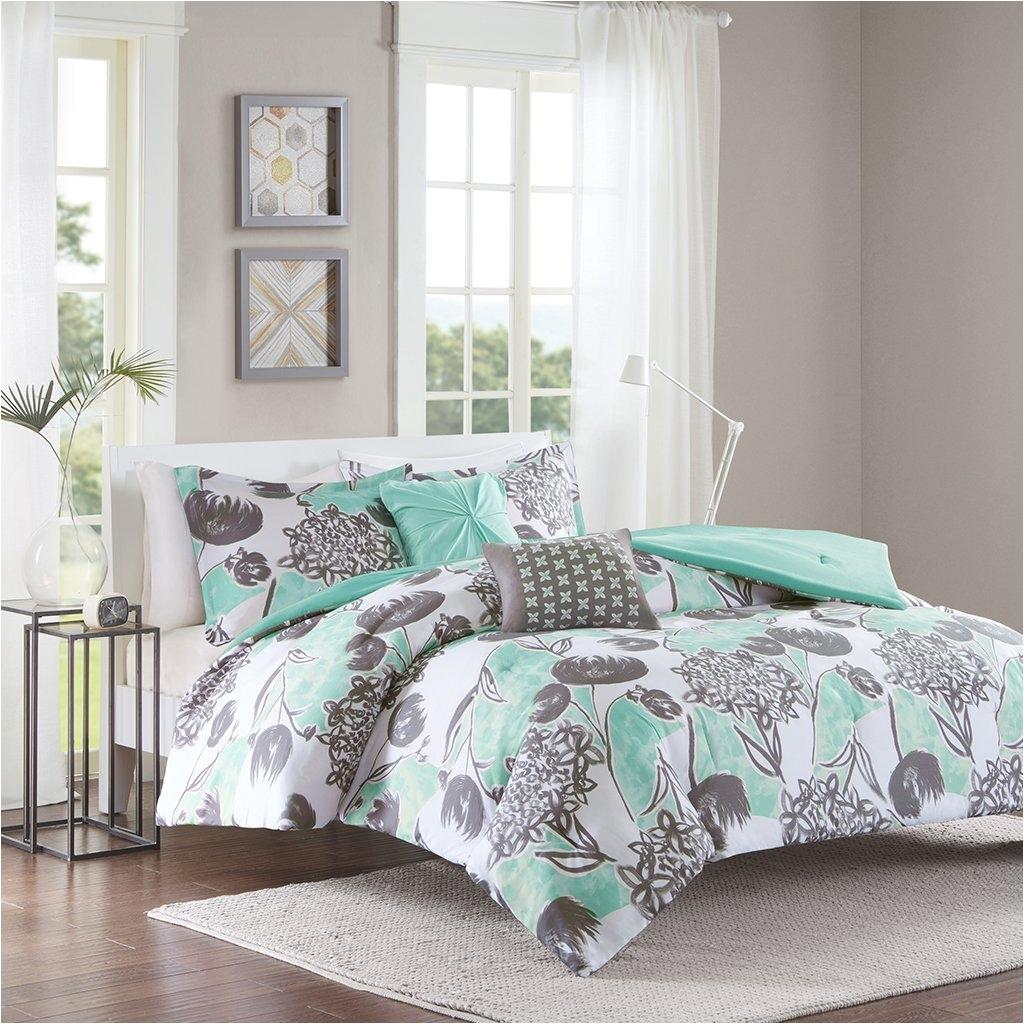 amazon com intelligent design marie comforter set full queen size aqua grey brushed floral 5 piece bed sets ultra soft microfiber teen bedding for