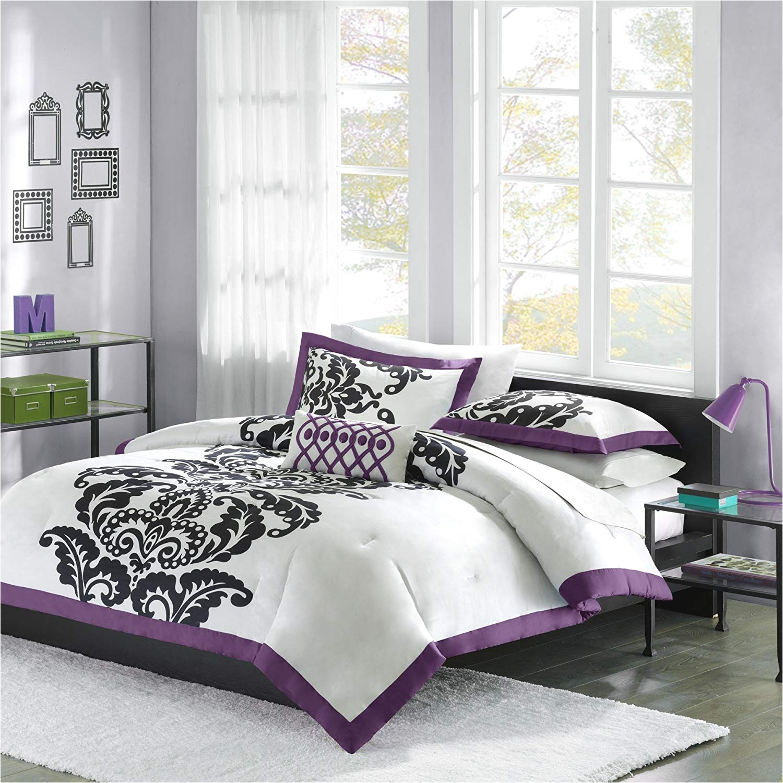 amazon com mizone florentine 4 piece comforter set full queen purple home kitchen