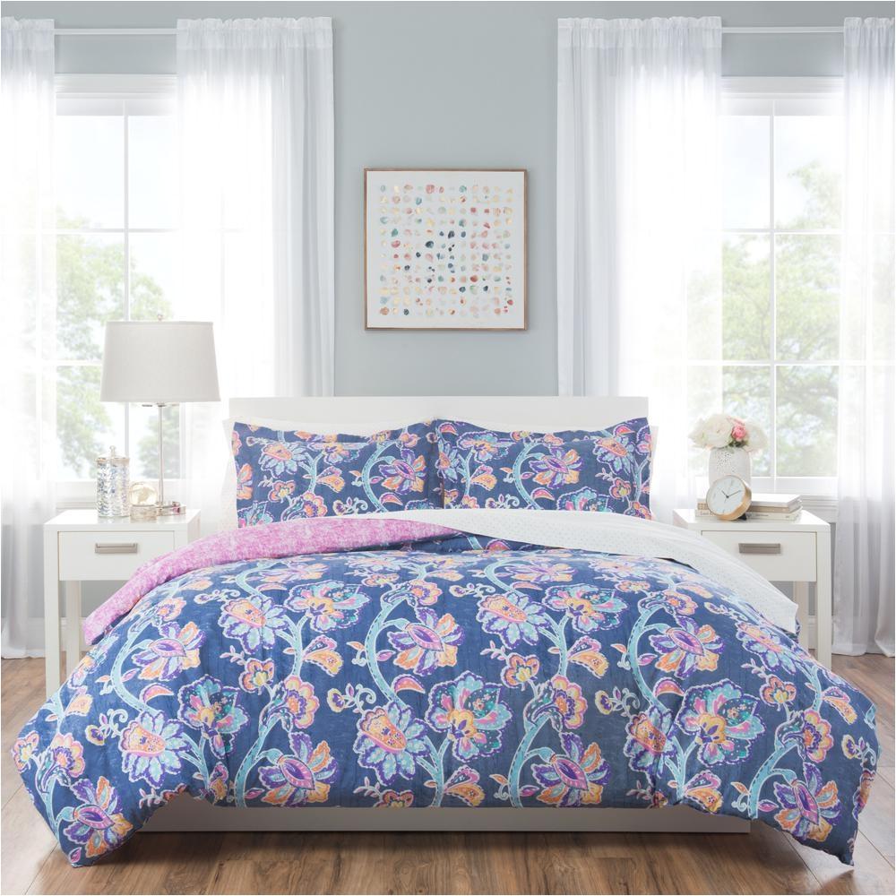 home dynamix nicole miller kids 7 piece queen floral comforter set blue