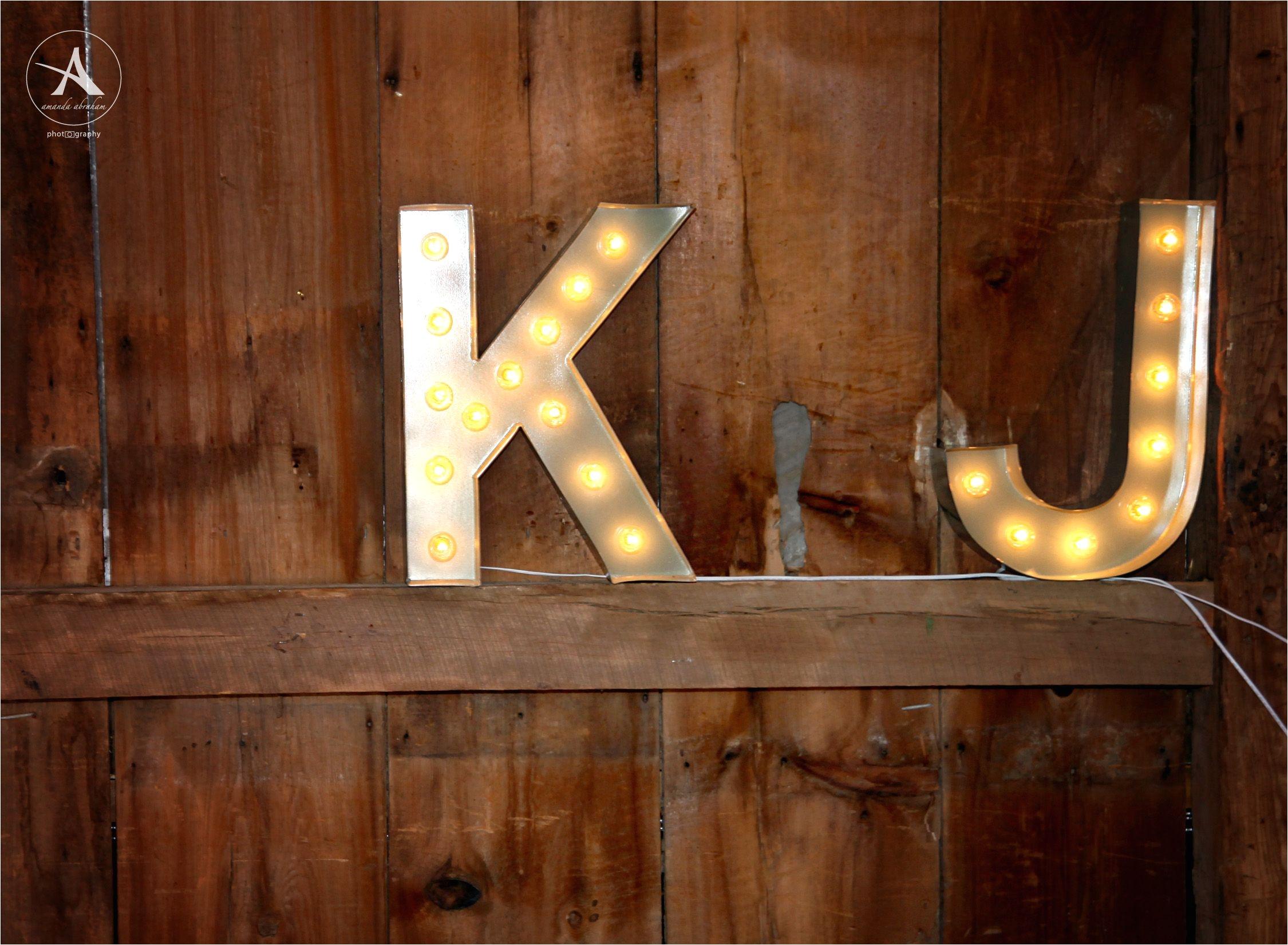 vintage barn wedding light up initials tollgate farms novi michigan kim jeff