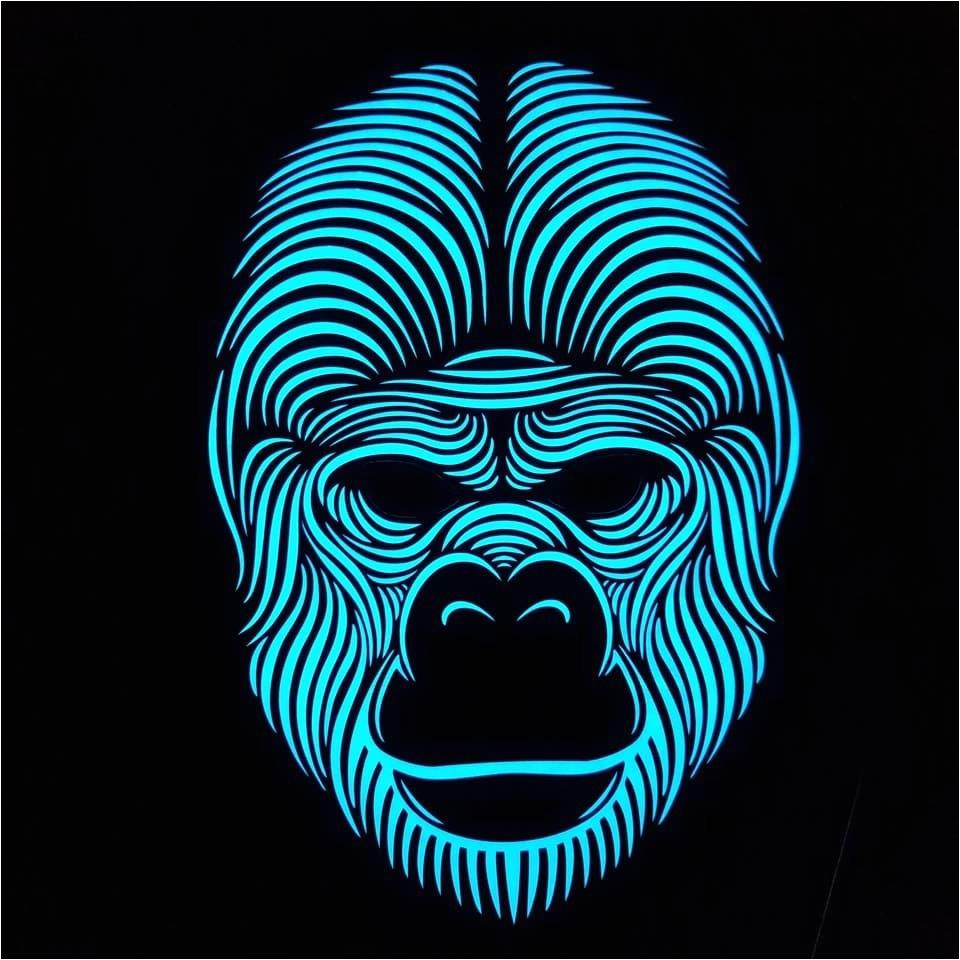 top secret g o r i l l a full face led sound activated rave mask