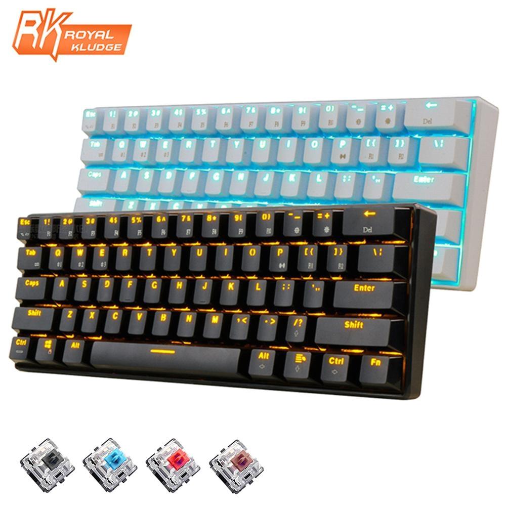 new 61 keys rk61 bluetooth wireless white led backlit ergonomic mechanical gaming keyboard gamer illuminated for laptop computer large key keyboard large