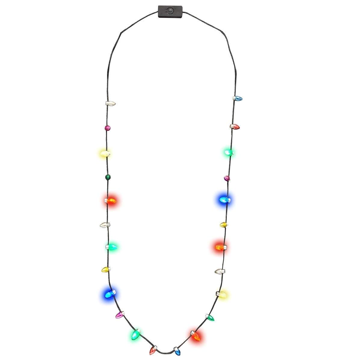 amazon com light up led christmas holiday mini bulb necklace toys games