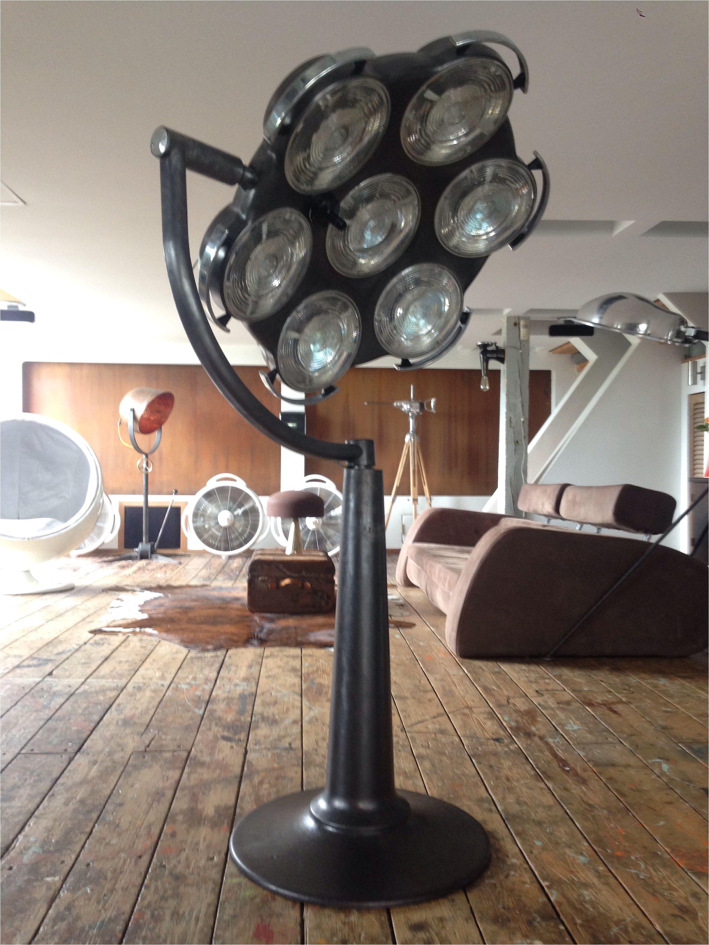 vintage black surgery light on drawing table stative unique design by stef van der bijl