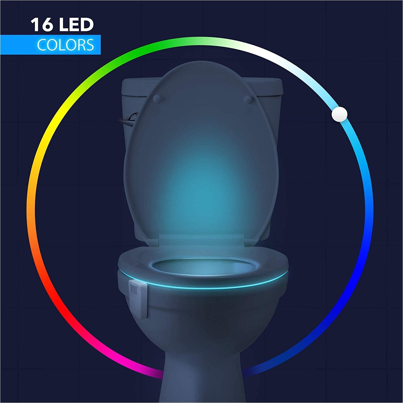 lumilux advanced 16 color motion sensor led toilet bowl night internal memory light detection white amazon com