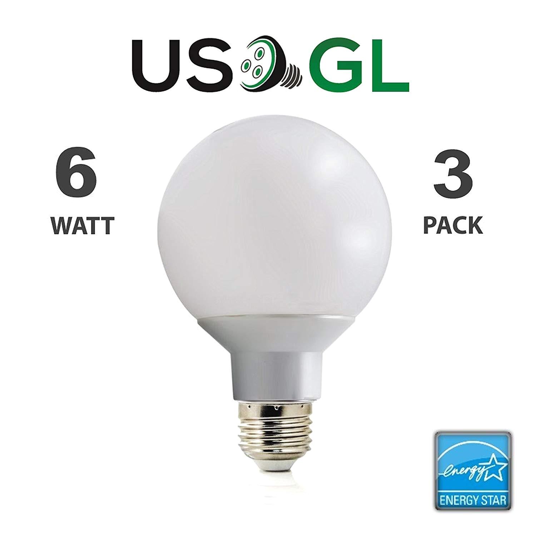 6 pack led g25 vanity globe light bulb dimmable 6w 40 watt equivalent warm white 2700k shatter resistant energy star e26 base 450 lumens amazon