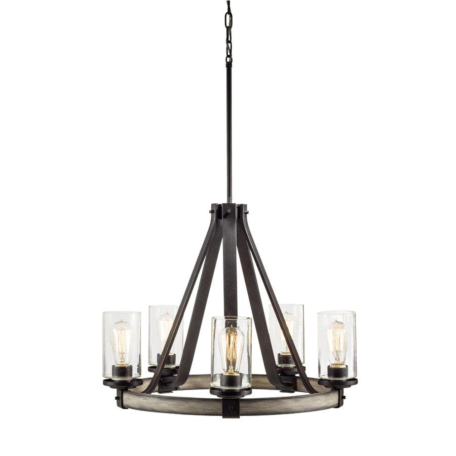 shop kichler lighting barrington 5 light anvil iron and driftwood chandelier at lowes com
