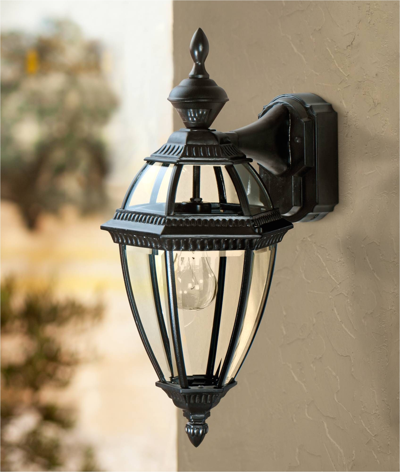 delightful exterior light with outlet or heritage black 21 dusk to dawn motion sensor outdoor light