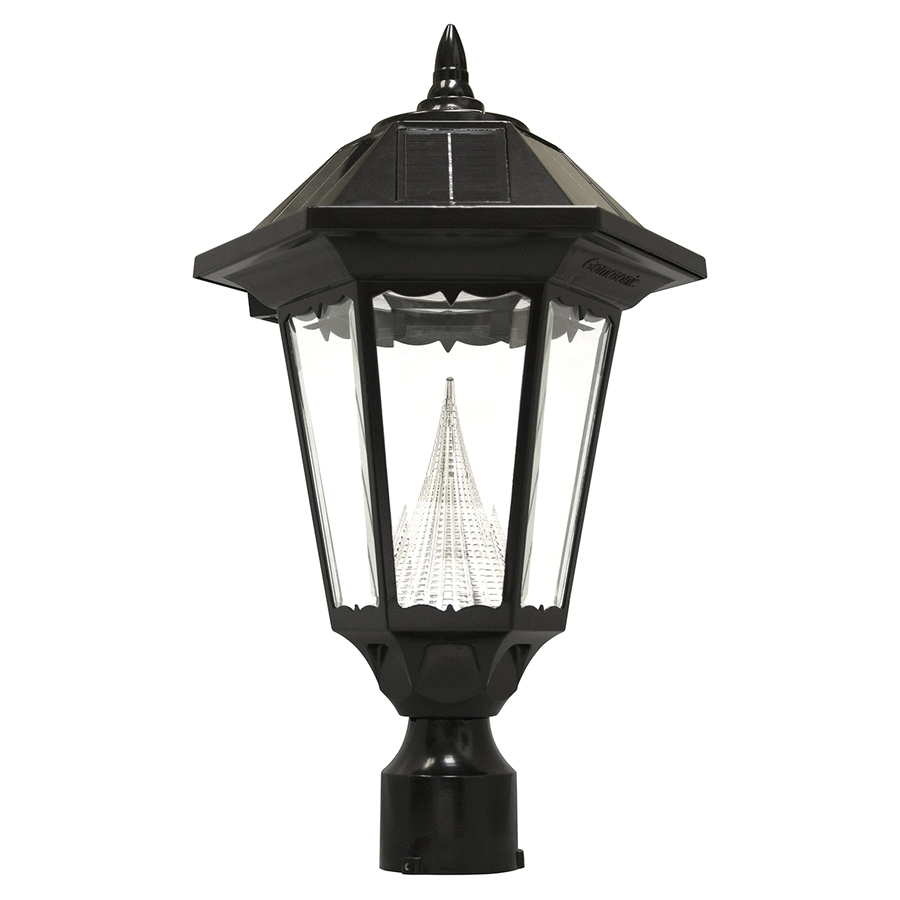 gama sonic windsor 20 in h black solar led post light