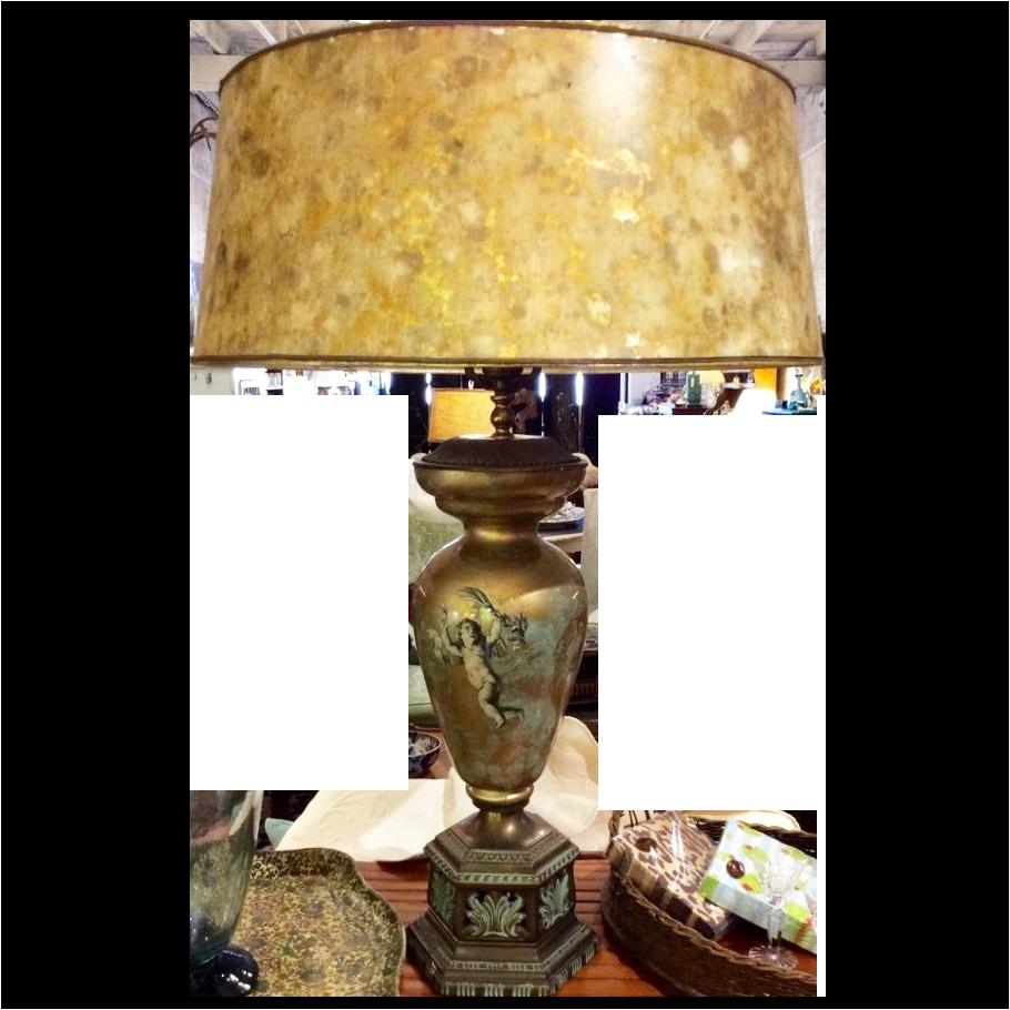 mid century italian decoupage lamp