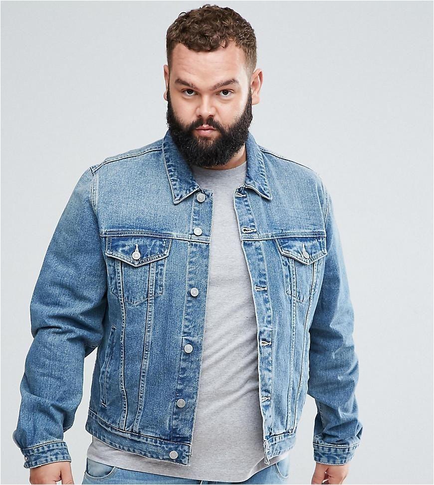 asos asos asos plus denim jacket in light wash blue adorewe