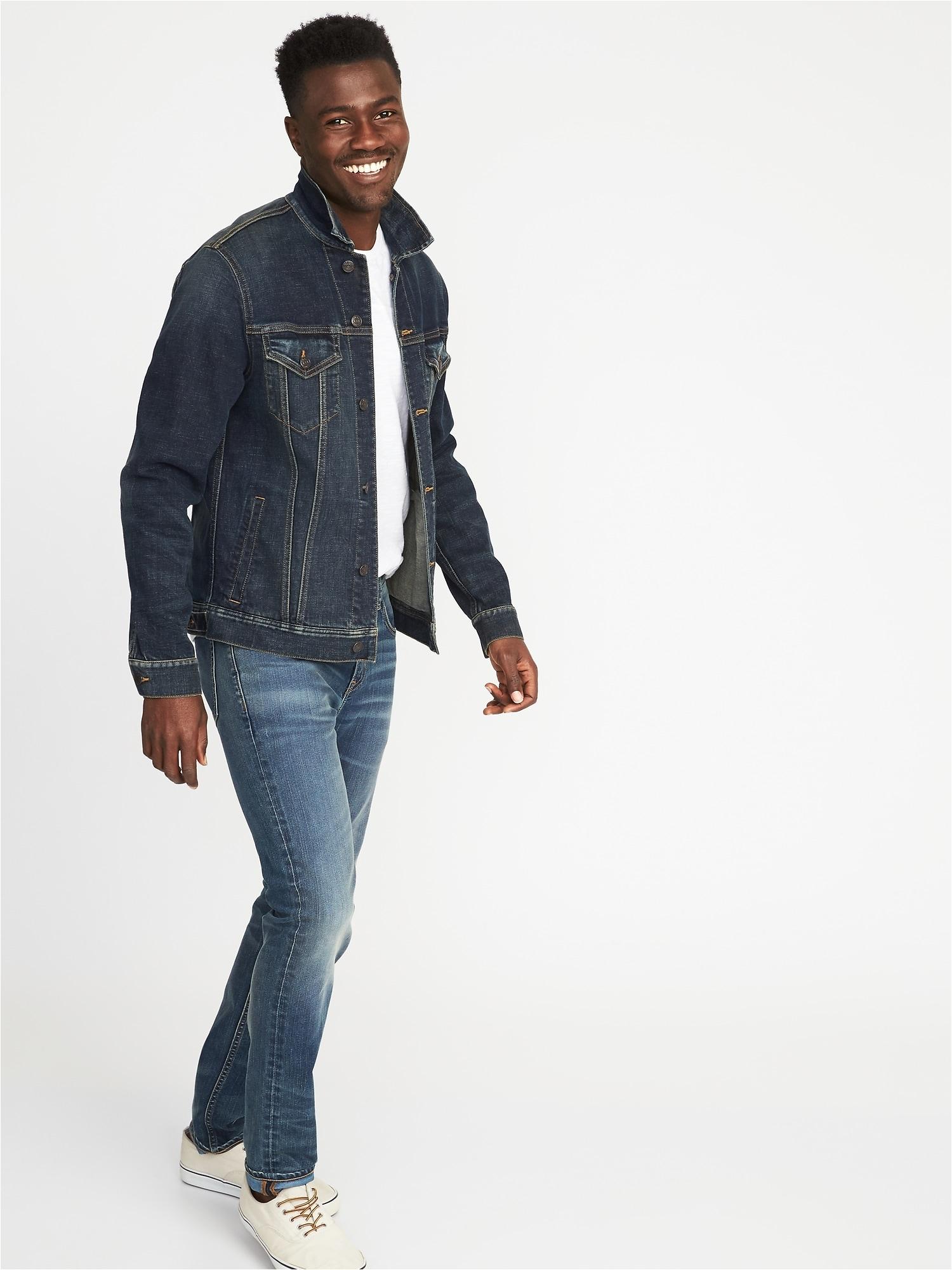 built in flex denim jacket for men