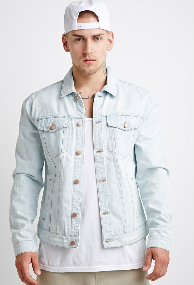 Mens Light Wash Denim Jacket Lyst forever 21 Distressed Denim Jacket In Blue for Men