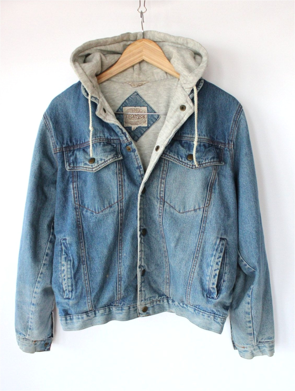 vintage 80s mens denim hoodie jacket sporty spring cotton jacket 42 00 via etsy