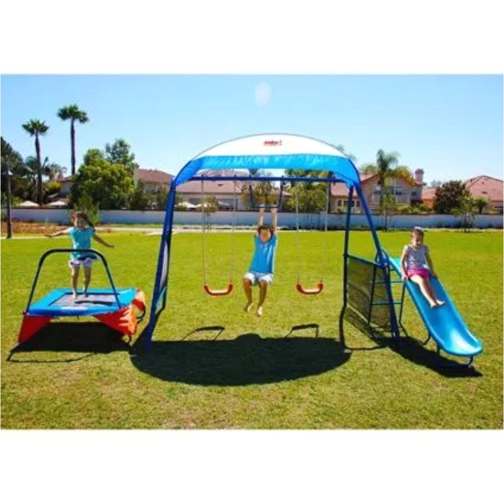 outdoor playset swing trampoline slide monkey bar kids fitness backyard exercise