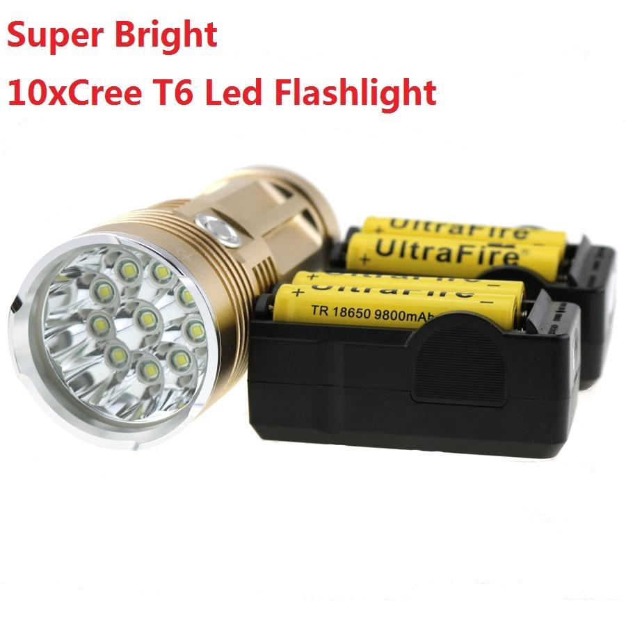 skyray tactical flashlight 10t6 20000lm bike lamp light 10xcree xm l t6 led torch waterproof 4x 18650 battery2x charger streamlight flashlight most
