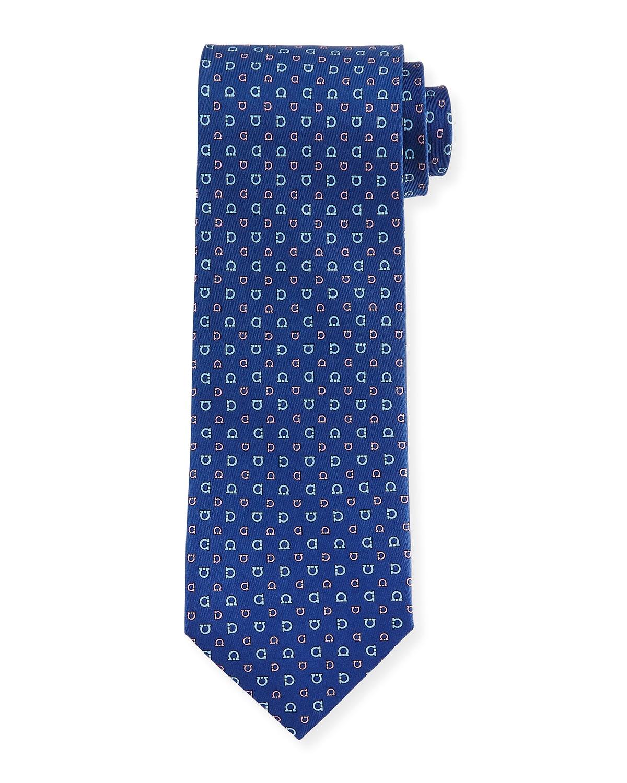 allover gancini print woven tie