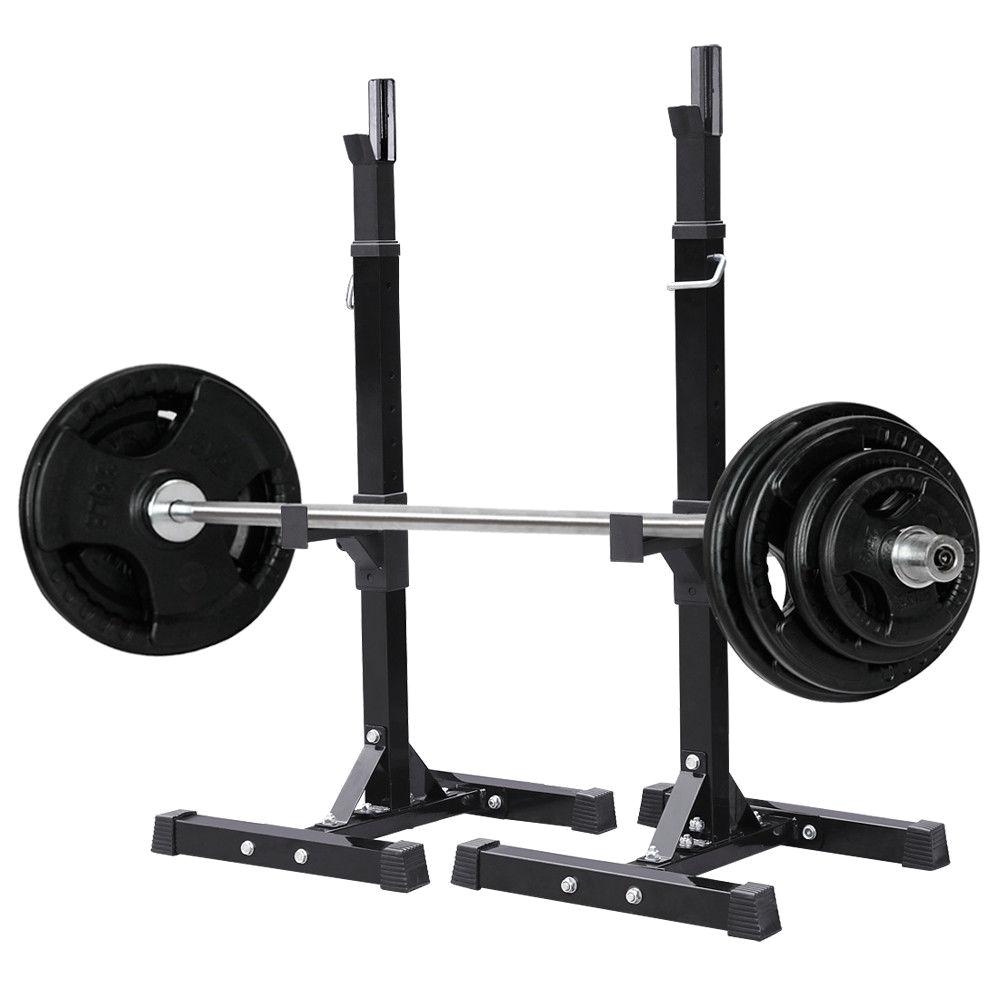 yosoo pair of adjustable rack sturdy steel squat barbell free bench press stands