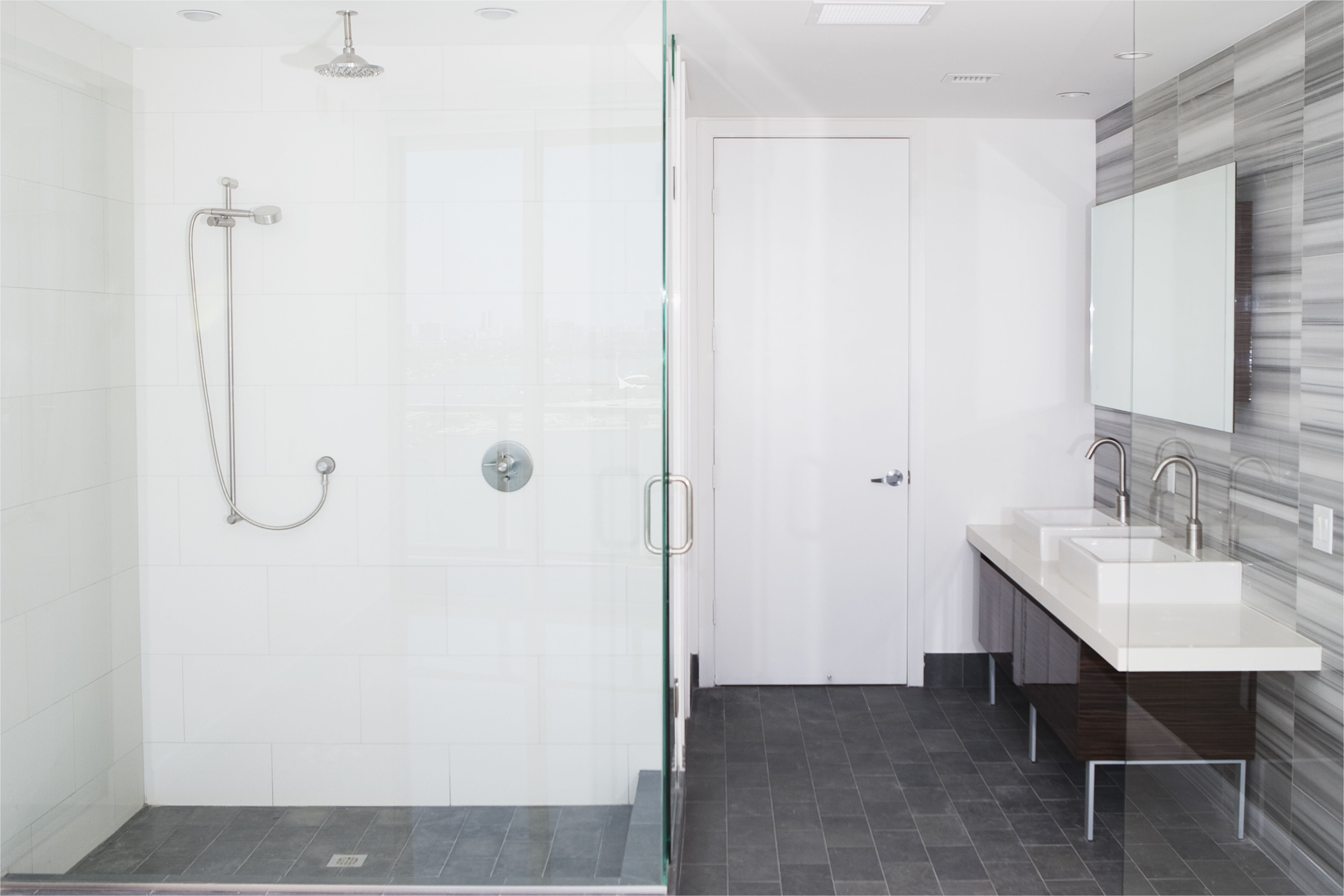 shower sinks and mirror in modern bathroom 533766223 588d18b45f9b5874ee14cb5c