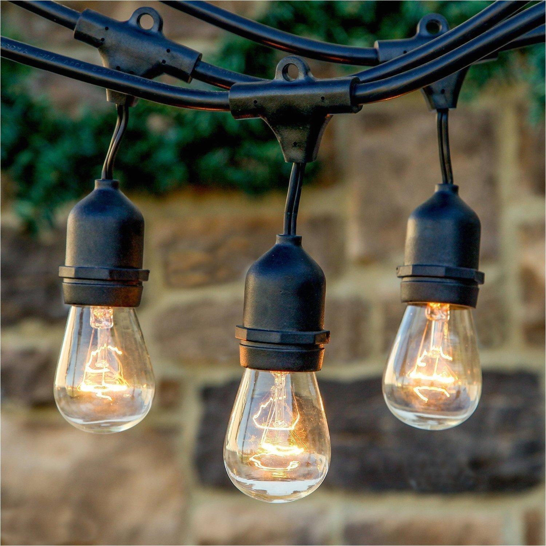 outdoor string lights with hanging sockets 48 ft market cafe edison vintage weatherproof strand for patio garden porch backyard clear bulb string lights