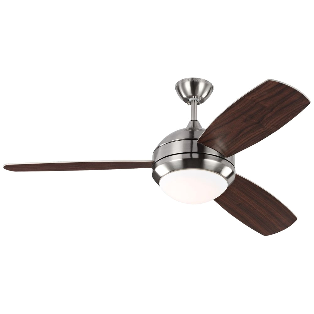 52 discus trio brushed steel damp led ceiling fan www lampsplus com