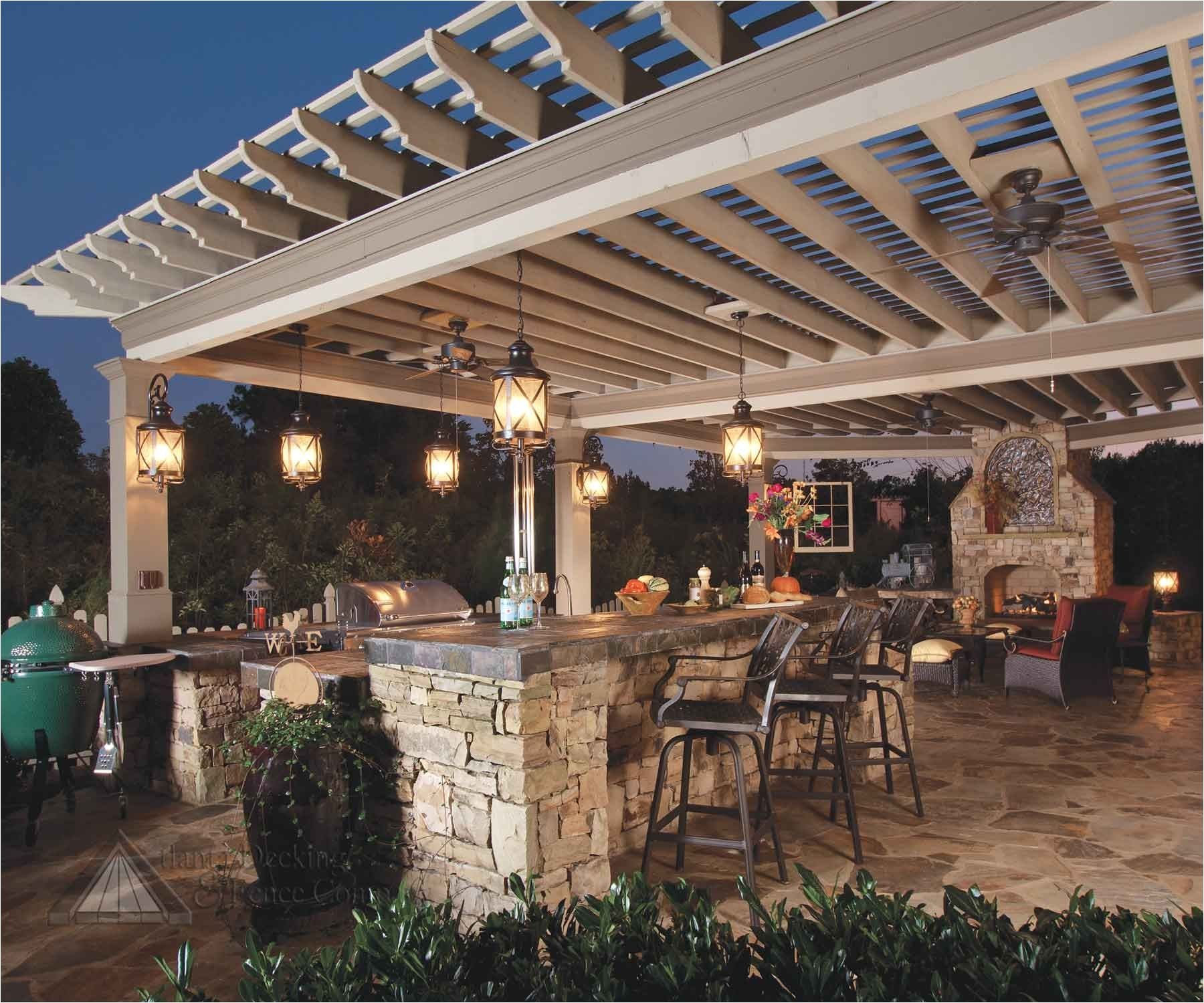 Outside Fans with Lights Exteriors Amazing Outdoor Kitchens In the Night with Romantic