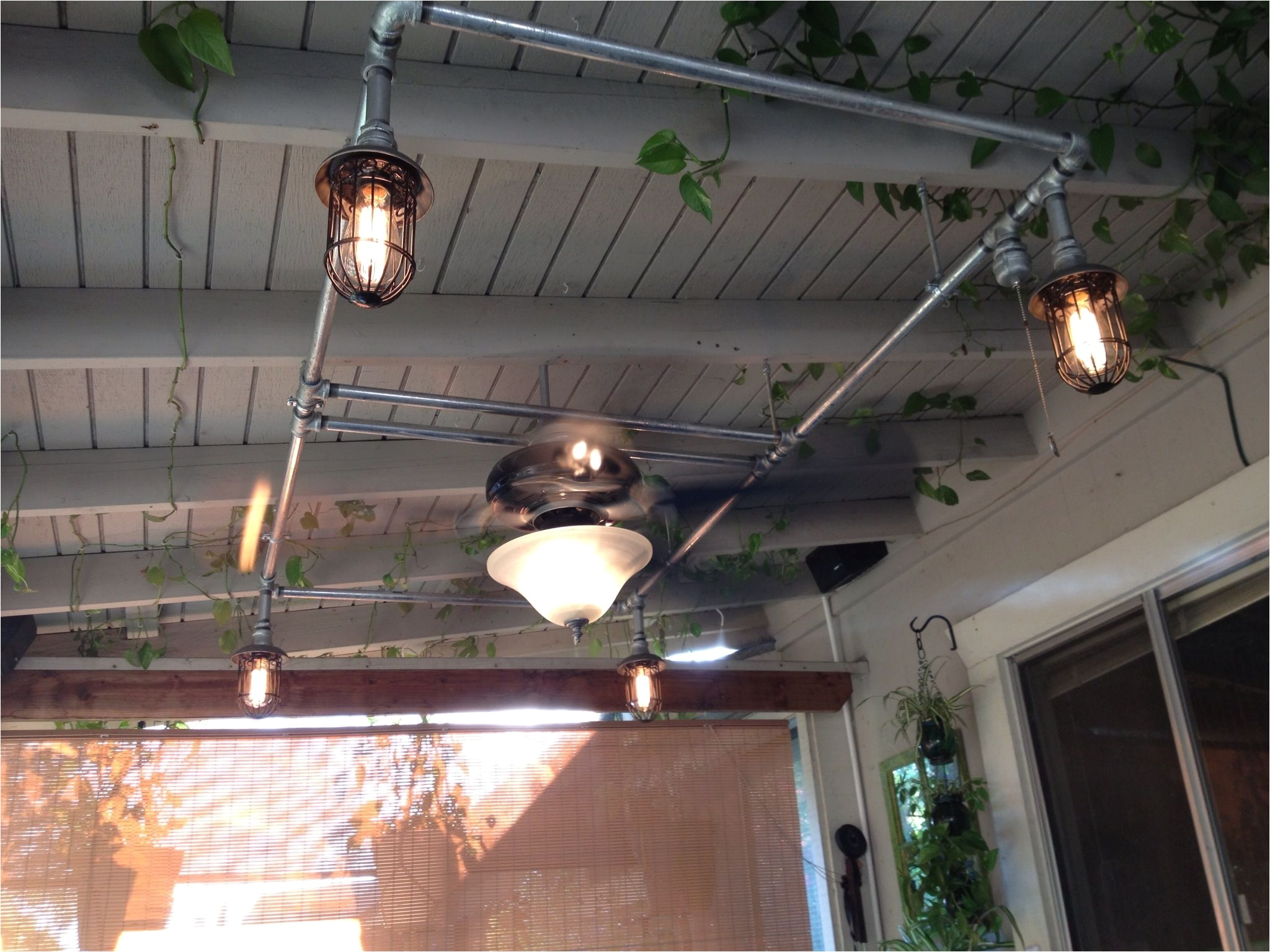 patio fan and lights with galvanized pipe pipe lighting porch lighting lighting ideas