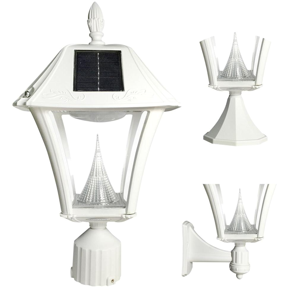 baytown ii outdoor white resin solar post wall light with warm white led