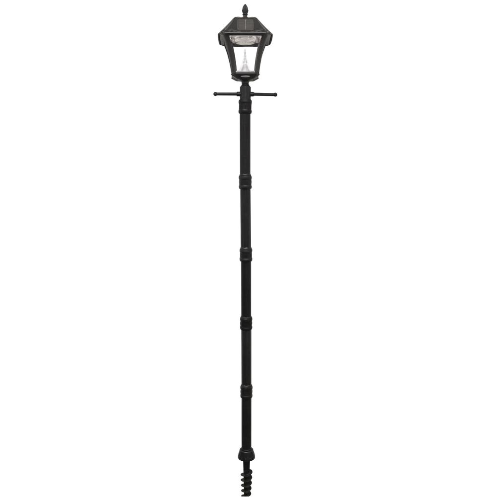 baytown ii black resin solar warm white outdoor integrated led post light and lamp post