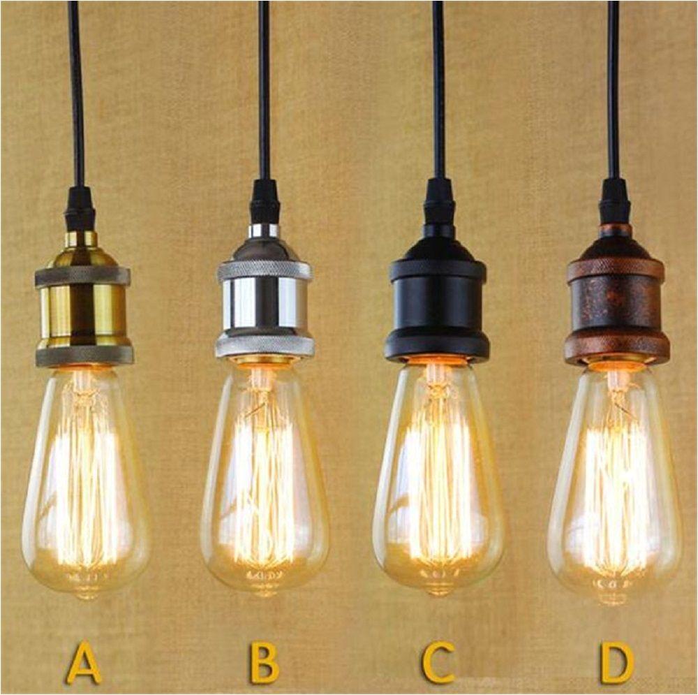 loft hanging lamp socket vintage edison pendant lights retro black chrome bronze edison lamp holder industrial