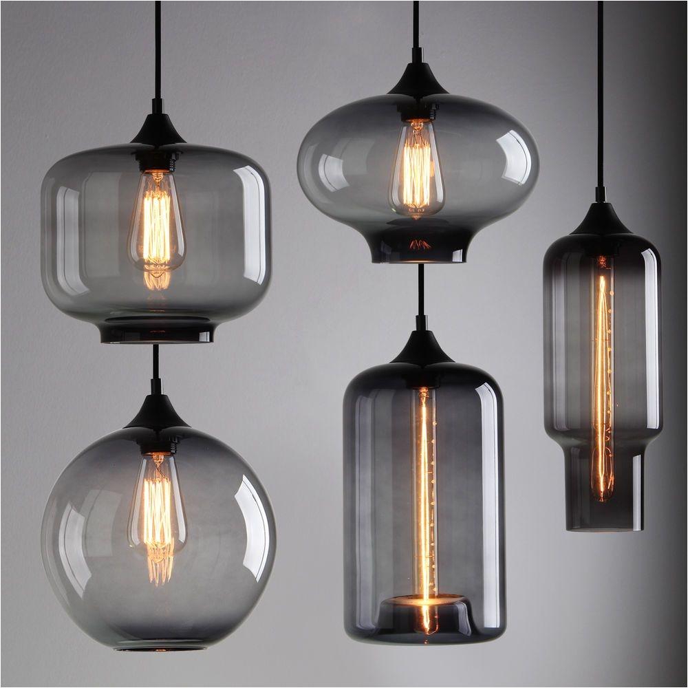 modern industrial smoky grey glass shade loft cafe pendant light ceiling lamp in home furniture diy lighting ceiling lights chandeliers ebay